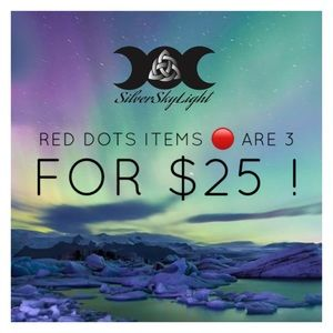Red dots items are 3 for $25 !